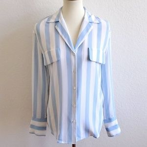 Frame Silk Blue White Striped Button Down Size XS